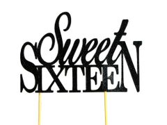 Black Sweet Sixteen Cake Topper