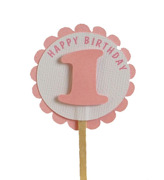 Shimmer Pink 1st Birthday Cupcake Toppers