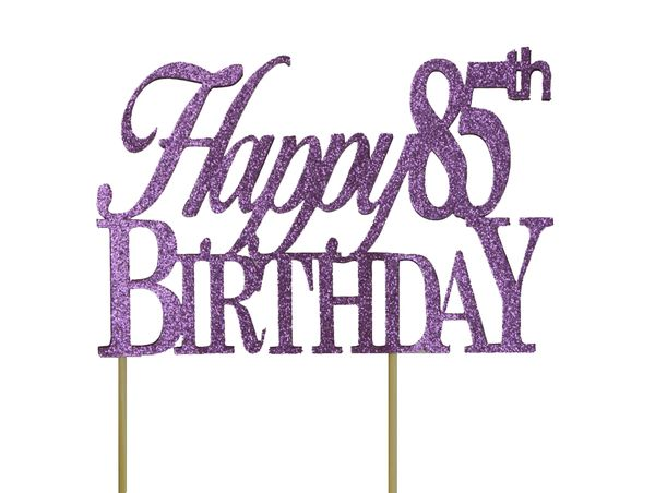 Purple Happy 85th Birthday Cake Topper