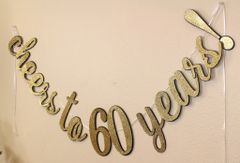 Black & Gold Cheers to 60 Years! Cursive Banner