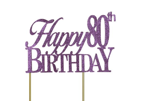 Purple Happy 80th Birthday Cake Topper