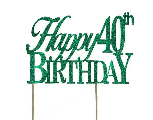 Green Happy 40th Birthday Cake Topper