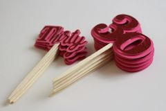 Red Glitter Thirty Cupcake Toppers