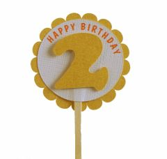 Shimmer Gold 2nd Birthday Cupcake Toppers