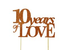 Copper 10 Years of Love Cake Topper
