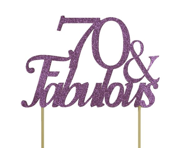 Purple 70 & Fabulous Cake Topper