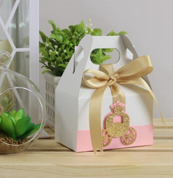 Shimmer Pink & Gold Princess Palace Favor Box-4in, Set of 10pcs