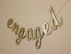 Black & Gold Engaged Cursive Banner