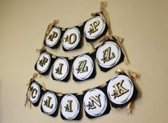 Black, Silver & Gold Star Theme Pop, Fizz Clink Banner, 1 set