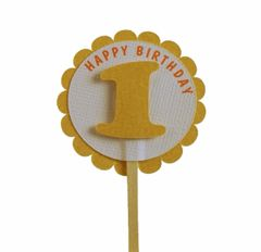 Shimmer Gold 1st Birthday Cupcake Toppers
