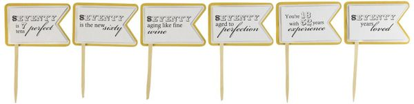 Gold Matte 70th Birthday Quotes Cupcake Toppers