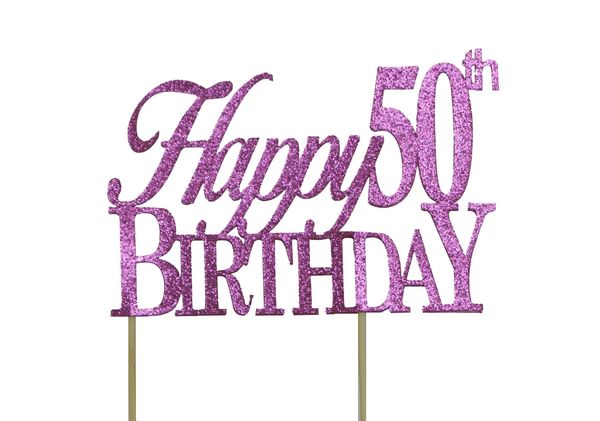 Pink Happy 50th Birthday Cake Topper