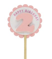 Shimmer Pink 2nd Birthday Cupcake Toppers
