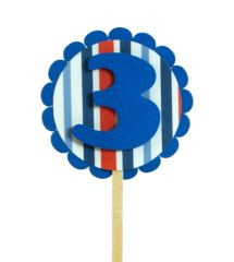 Blue & Stripes 3 Cupcake Toppers