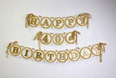 Gold Happy 40th Birthday Banner
