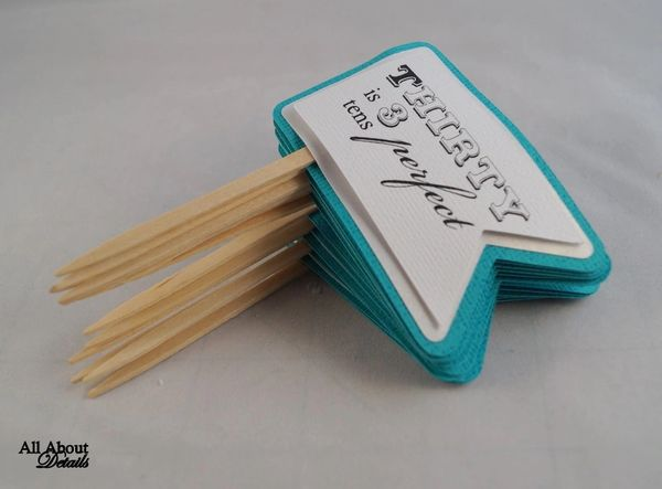 Teal 30th Birthday Quotes Cupcake Toppers