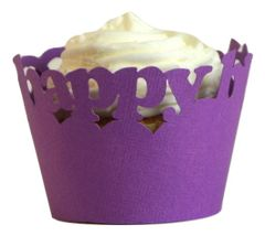 Purple Happy Birthday Cupcake Wrappers