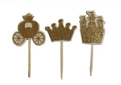 Gold Glitter Princess Theme Cupcake Toppers