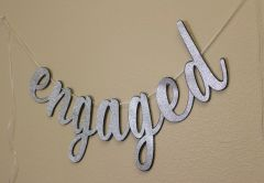 Black & Silver Engaged Cursive Banner