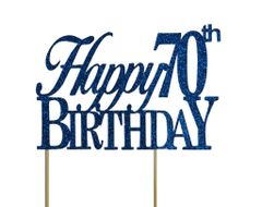 Blue Happy 70th Birthday Cake Topper