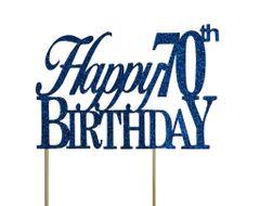 Blue Happy 70th Birthday Cake Topper