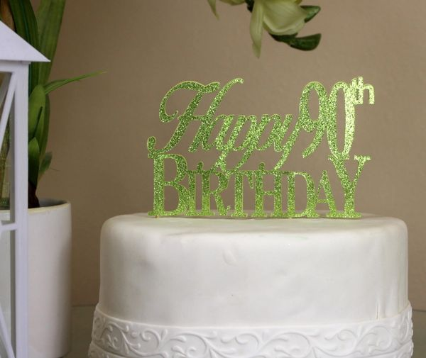 Al About Details Lime Green Happy 90th Birthday Cake Topper