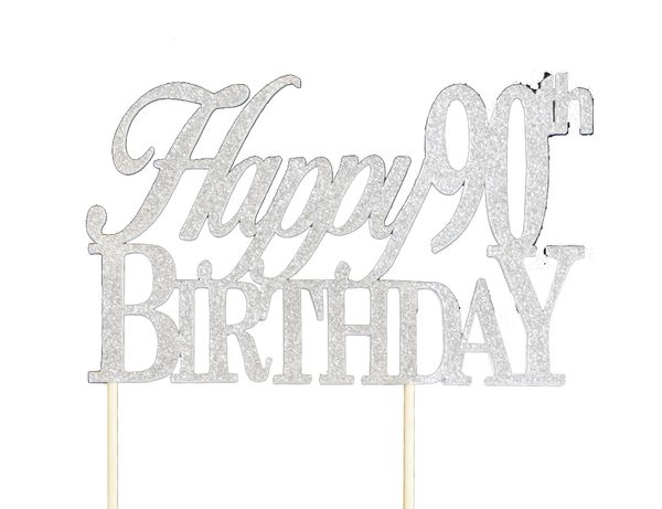 Silver Happy 90th Birthday Cake Topper