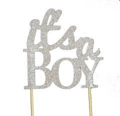 Silver It's a Boy Cake Topper