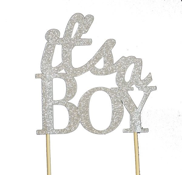 Silver It's a Boy Cake Topper