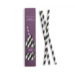 Stripes Paper Straws Black Tie 24pc