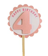 Shimmer Pink 4th Birthday Cupcake Toppers