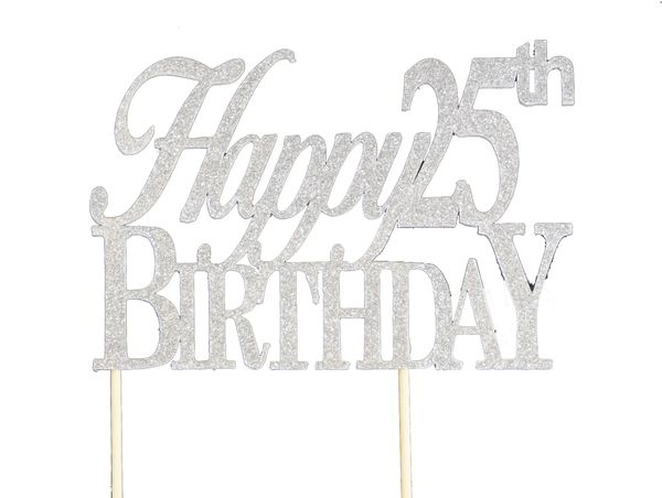 Silver Happy 25th Birthday Cake Topper
