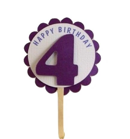 Shimmer Purple 4th Birthday Cupcake Toppers