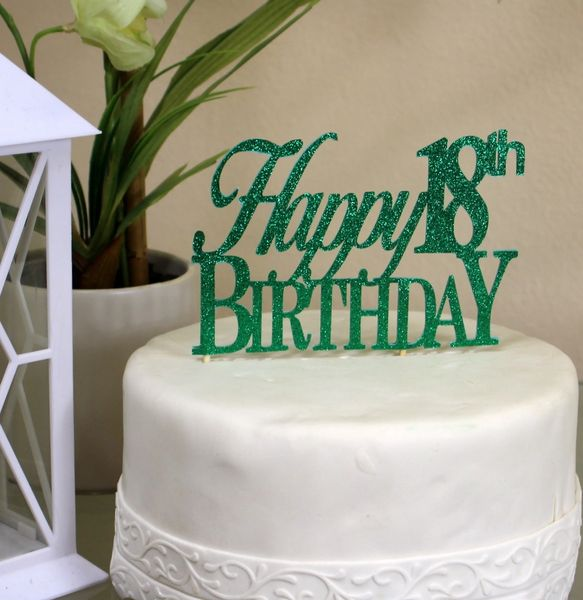 All About Details Green Happy 18th Birthday Cake Topper