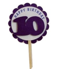 Shimmer Purple 10th Birthday Cupcake Toppers