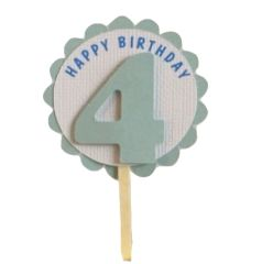 Shimmer Light Blue 4th Birthday Cupcake Toppers