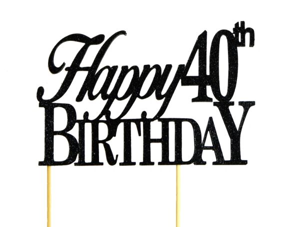 All About Details Black Happy 40th Birthday Cake Topper All About