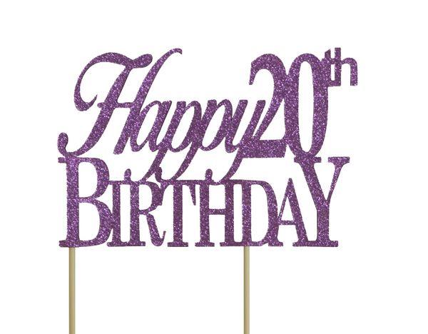 Purple Happy 20th Birthday Cake Topper