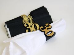 Black & Gold 30 Napkin Holders, 12pcs