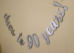 Black & Silver Cheers to 90 Years! Cursive Banner