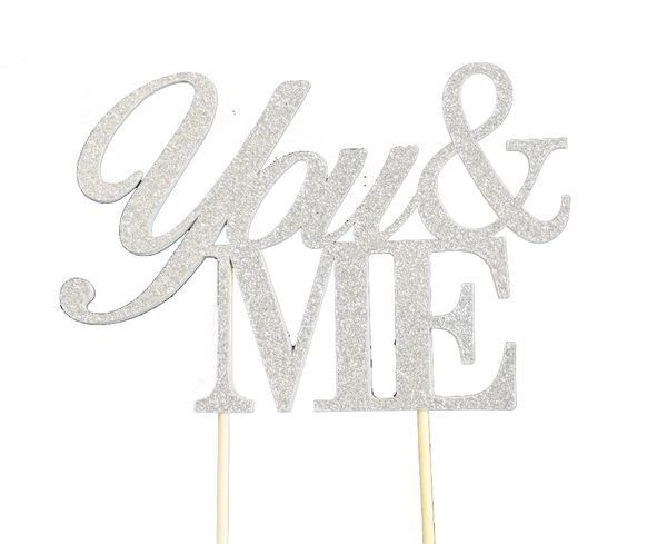 Silver You & Me Cake Topper