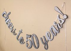 Black & Silver Cheers to 50 Years! Cursive Banner