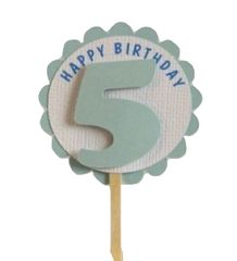 Shimmer Light Blue 5th Birthday Cupcake Toppers