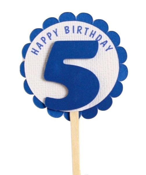 Shimmer Blue 5th Birthday Cupcake Toppers