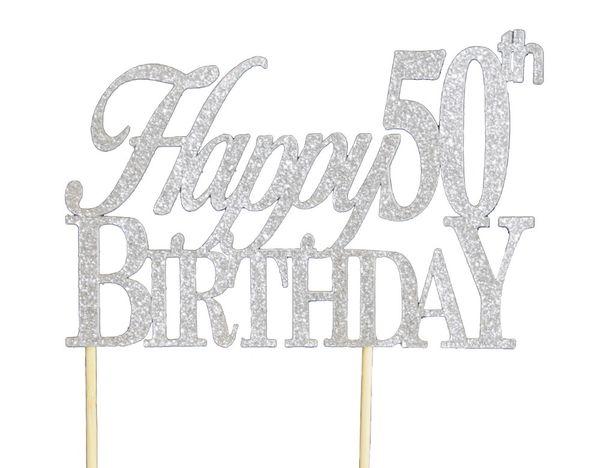 Silver Happy 50th Birthday Cake Topper