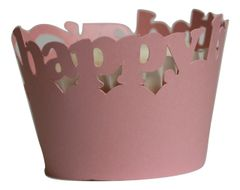 Shimmer Pink Happy Birthday Cupcake Wrappers