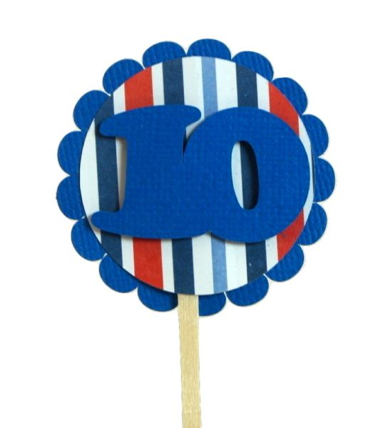 Blue & Stripes 10 Cupcake Toppers
