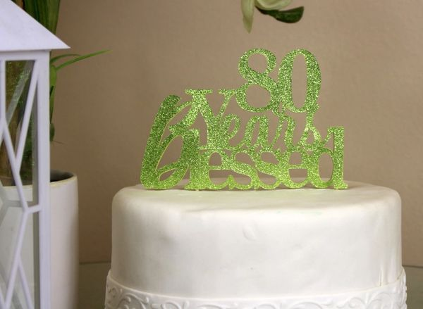 Lime Green 80 Years Blessed Cake Topper