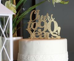 Gold Cheers to 90 Years! Cake Topper