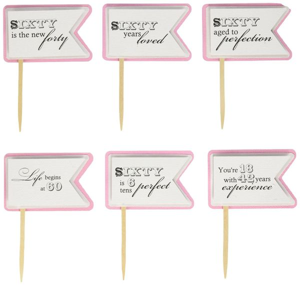 Bubblegum Pink 60th Birthday Quotes Cupcake Toppers